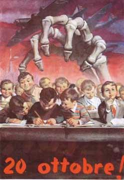 """Boccasile: """"La morte ghermisce gli scolari di gorla""""."""