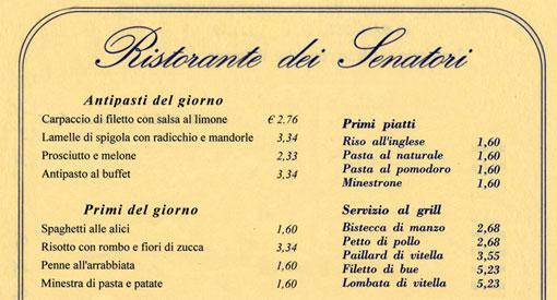 senato- menu secondo l'espresso