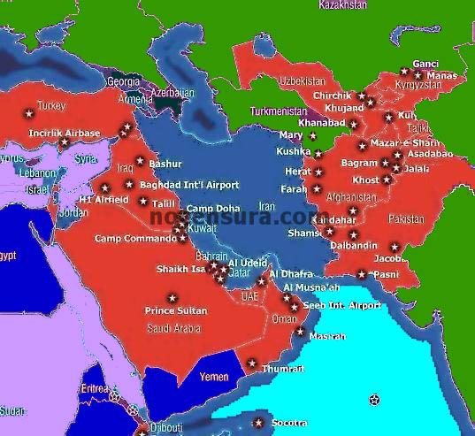 basi USA intorno Iran