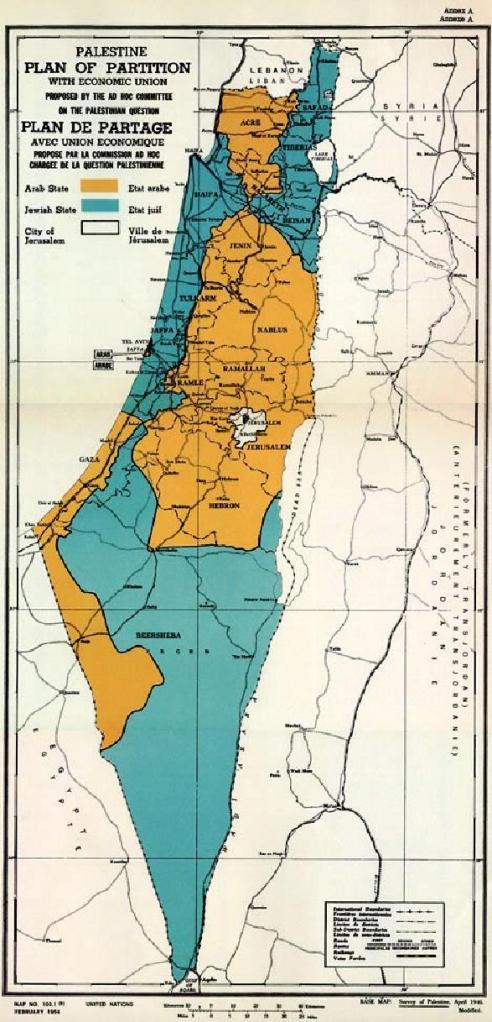 Israele e Palestina secondo la Risoluzione O.N.U.