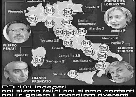 101 indagati PD regione per regione