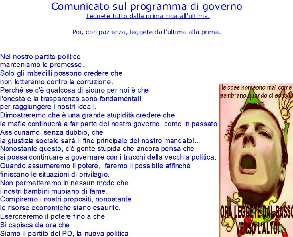 Comunicato bugiardo sul programma di governo